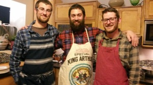 Chef Geoff, center, flanked by Farmers Brett and Will